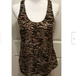 Joie Top XS Black Brown White Abstract Print Silk